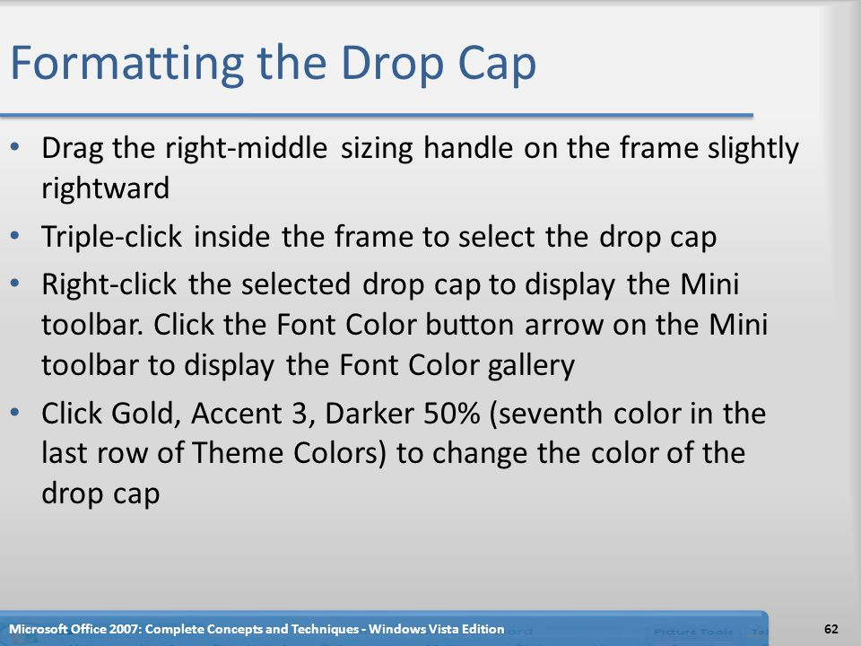 Formatting the Drop Cap