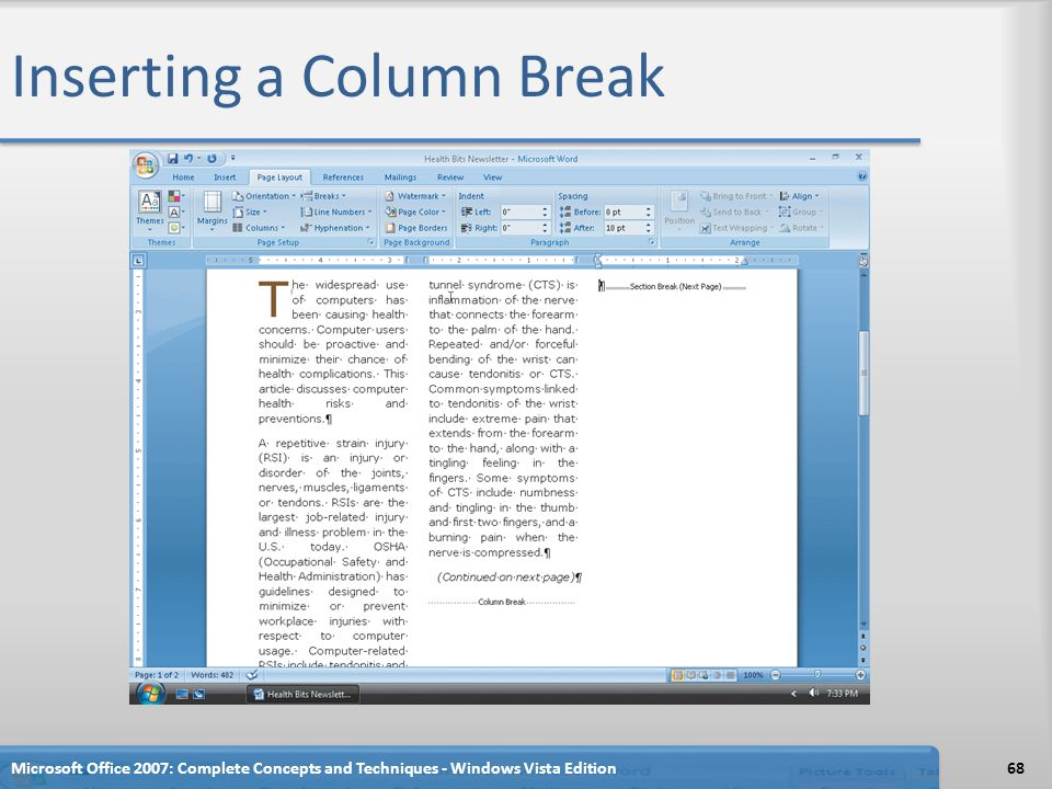 Inserting a Column Break
