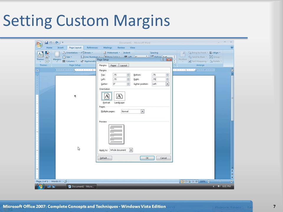 Setting Custom Margins