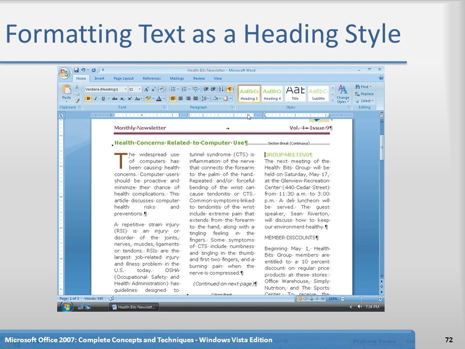 Formatting Text as a Heading Style