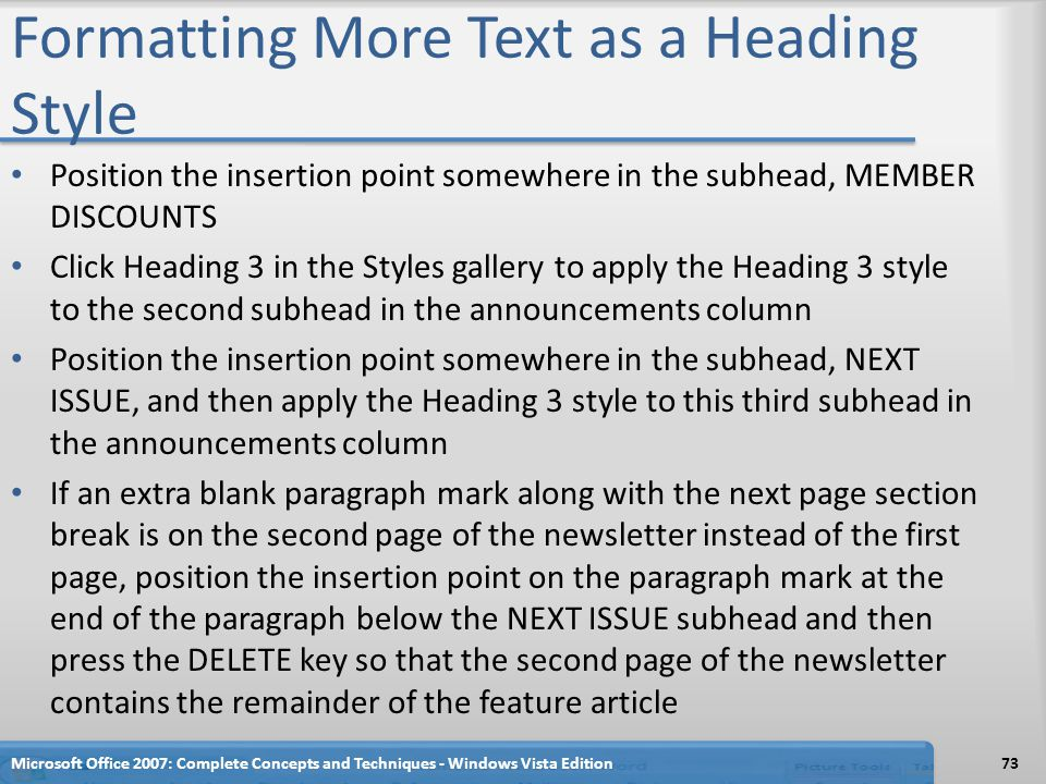 Formatting More Text as a Heading Style