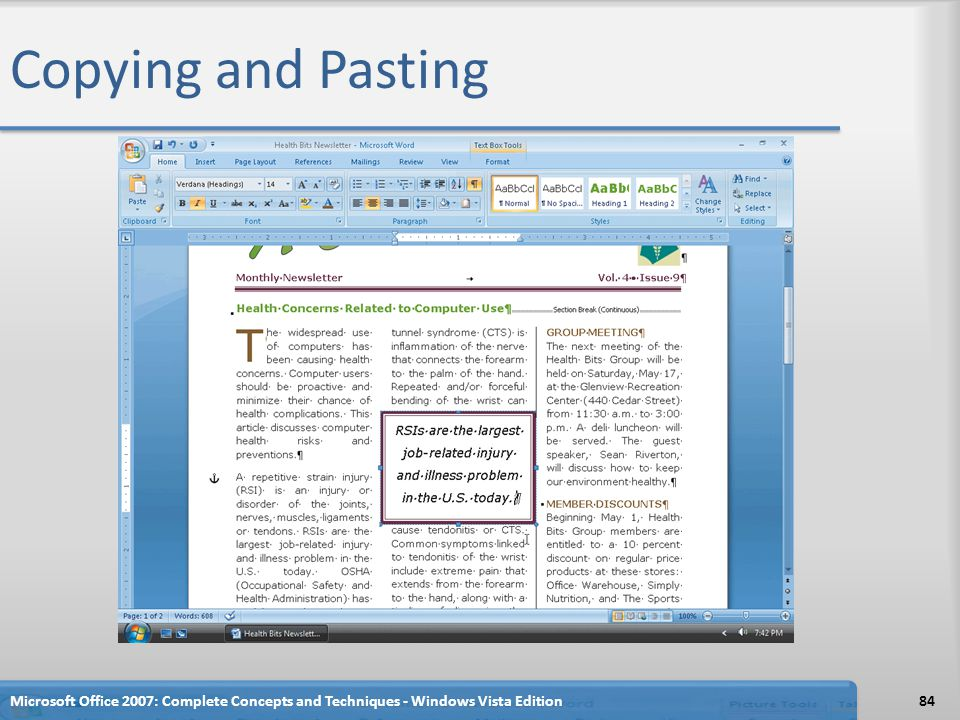 Copying and Pasting Microsoft Office 2007: Complete Concepts and Techniques - Windows Vista Edition