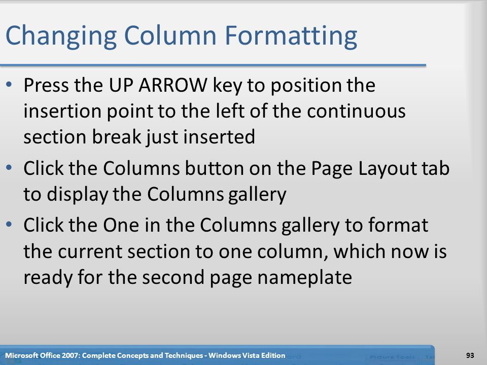 Changing Column Formatting