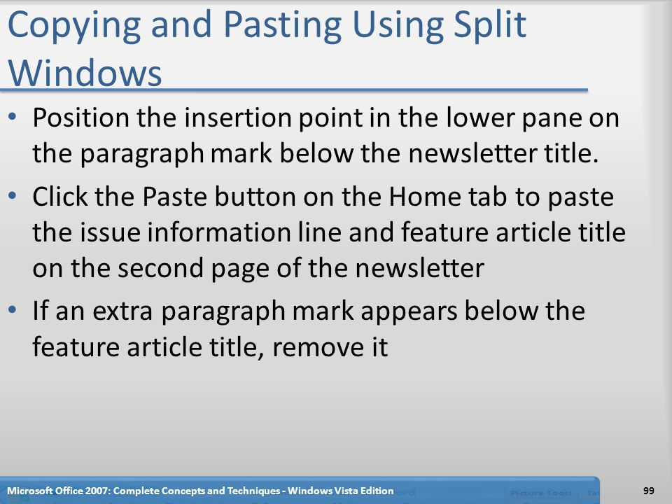 Copying and Pasting Using Split Windows