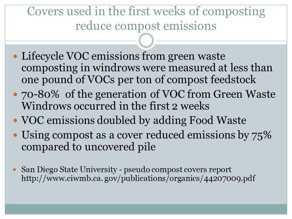 Covers used in the first weeks of composting reduce compost emissions