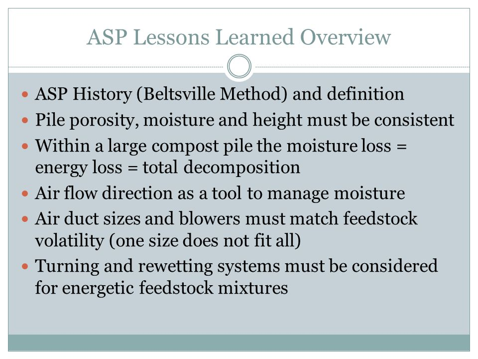 ASP Lessons Learned Overview