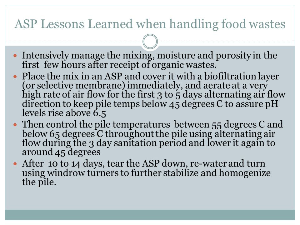 ASP Lessons Learned when handling food wastes