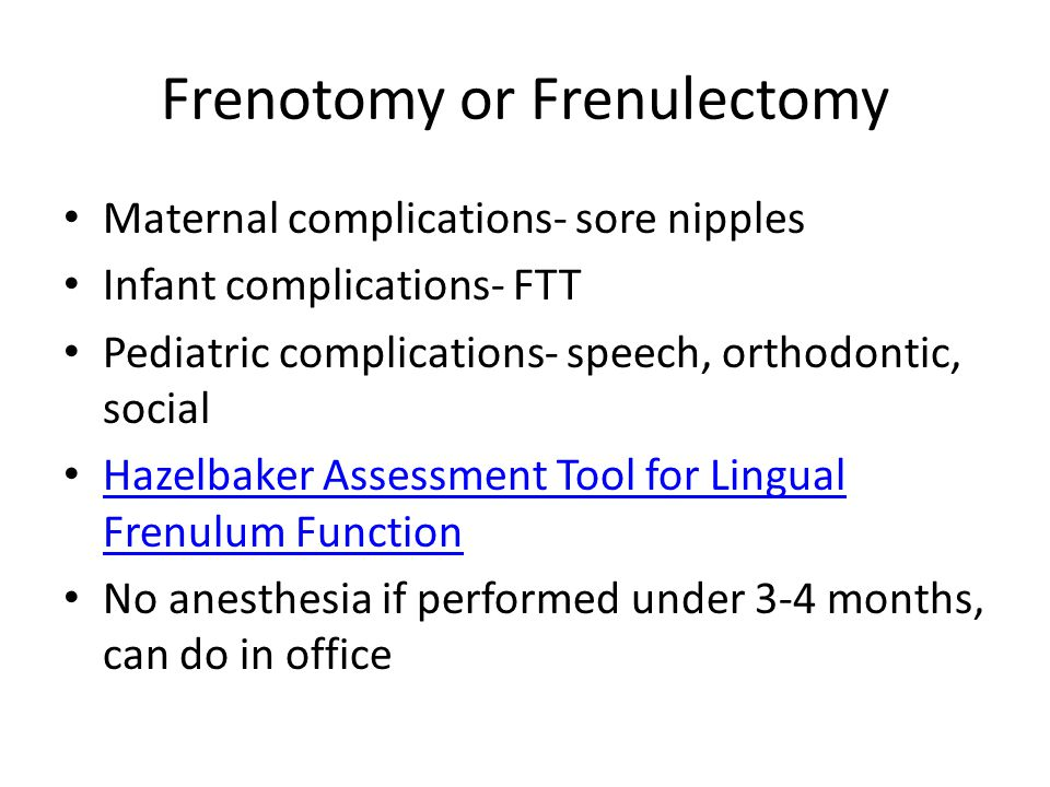 Frenotomy or Frenulectomy