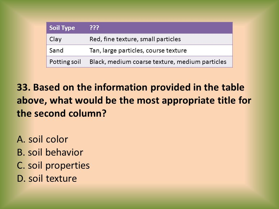 Soil Type Clay. Red, fine texture, small particles. Sand. Tan, large particles, course texture.