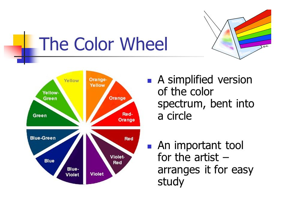 The Color Wheel A simplified version of the color spectrum, bent into a circle.