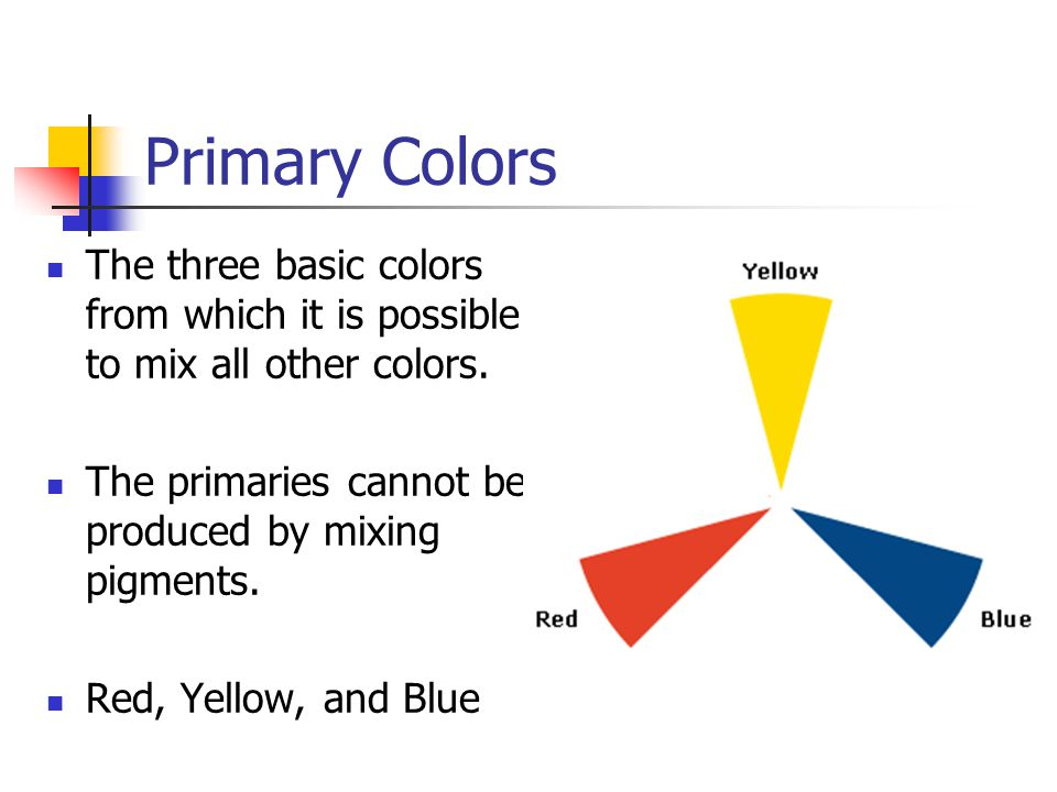 Primary Colors The three basic colors from which it is possible to mix all other colors. The primaries cannot be produced by mixing pigments.