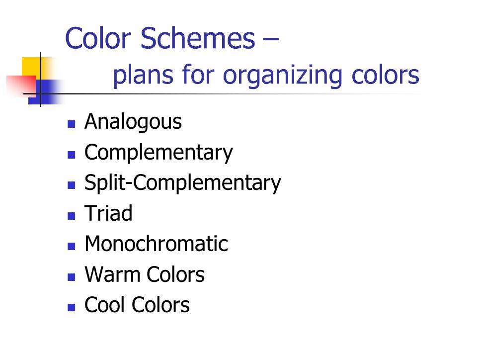 Color Schemes – plans for organizing colors