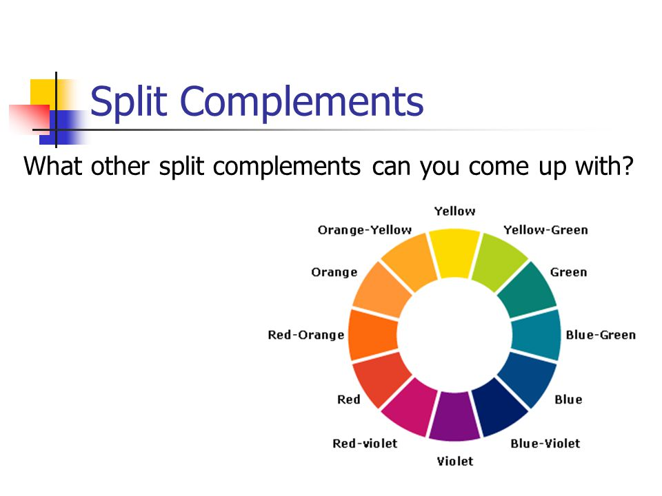 Split Complements What other split complements can you come up with