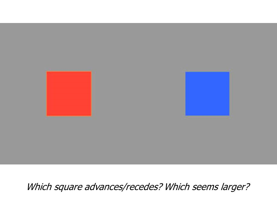 Which square advances/recedes Which seems larger
