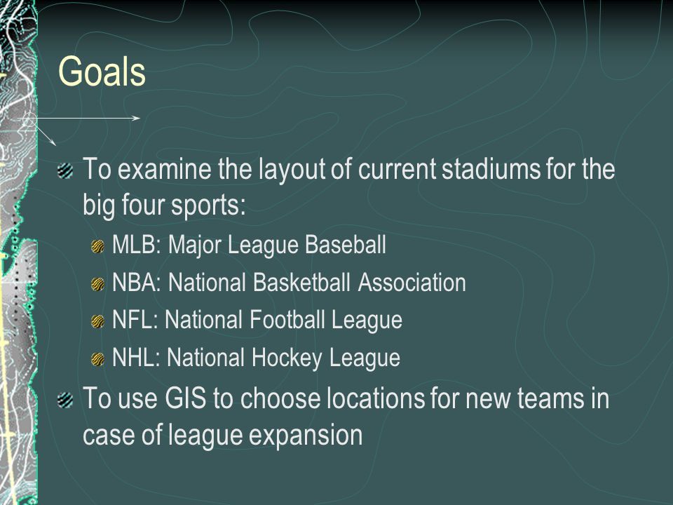 Goals To examine the layout of current stadiums for the big four sports: MLB: Major League Baseball.