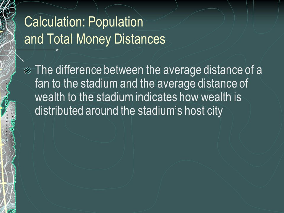 Calculation: Population and Total Money Distances