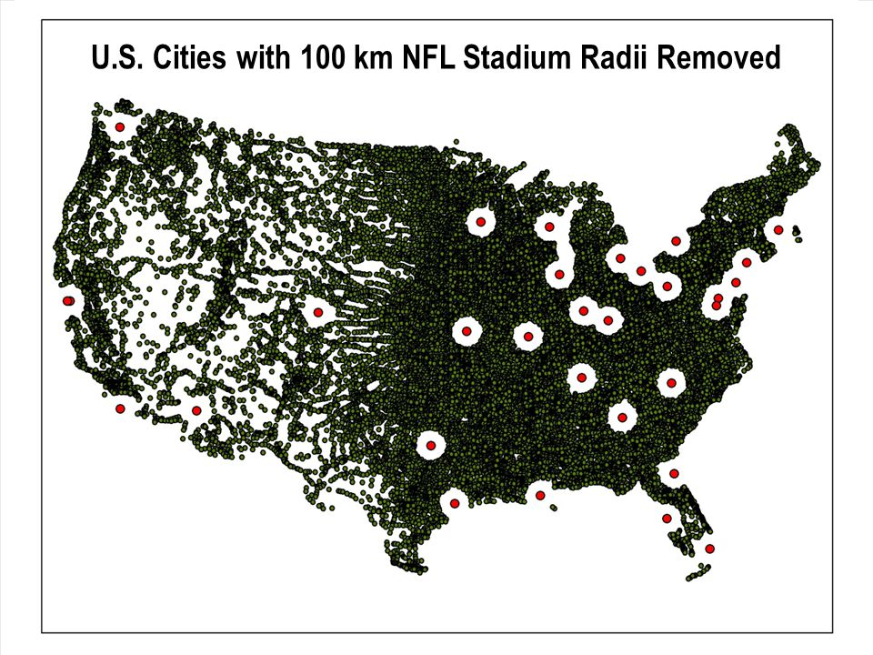 U.S. Cities with 100 km NFL Stadium Radii Removed