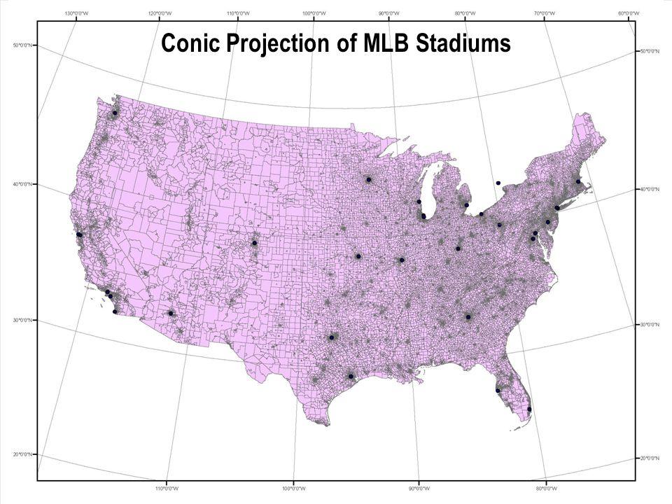 Conic Projection of MLB Stadiums