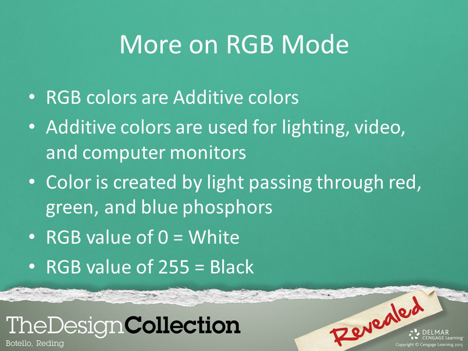 More on RGB Mode RGB colors are Additive colors
