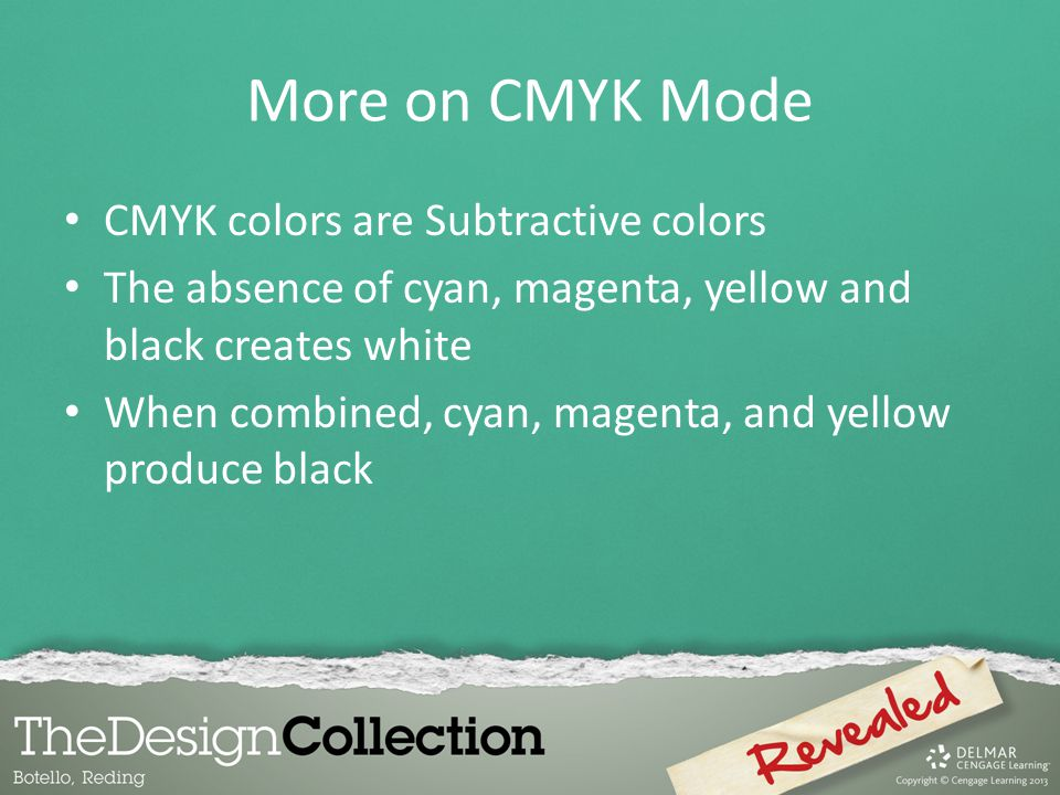 More on CMYK Mode CMYK colors are Subtractive colors