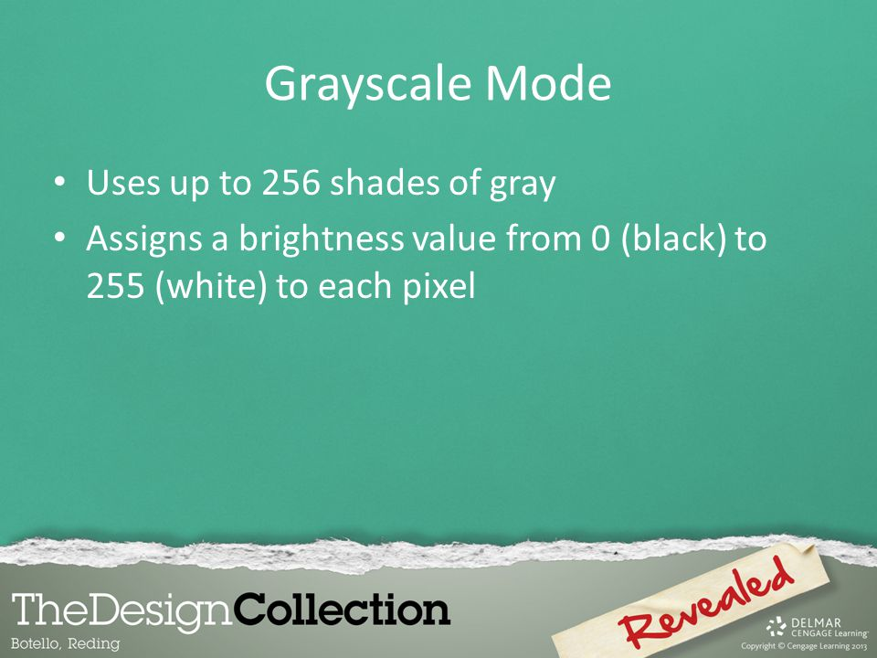 Grayscale Mode Uses up to 256 shades of gray