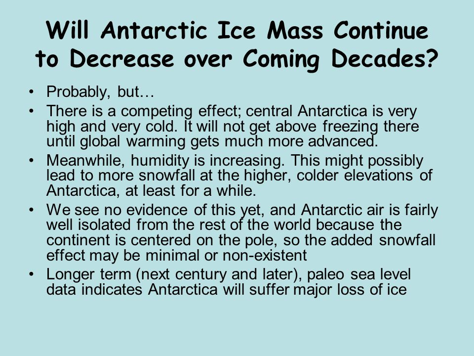 Will Antarctic Ice Mass Continue to Decrease over Coming Decades