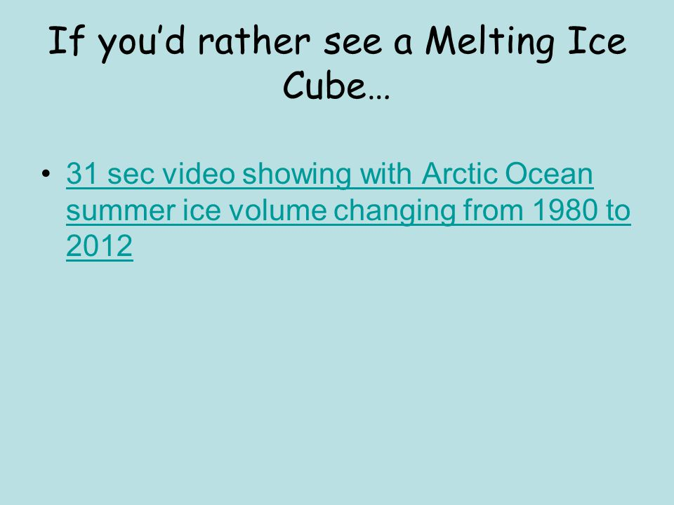 If you'd rather see a Melting Ice Cube…