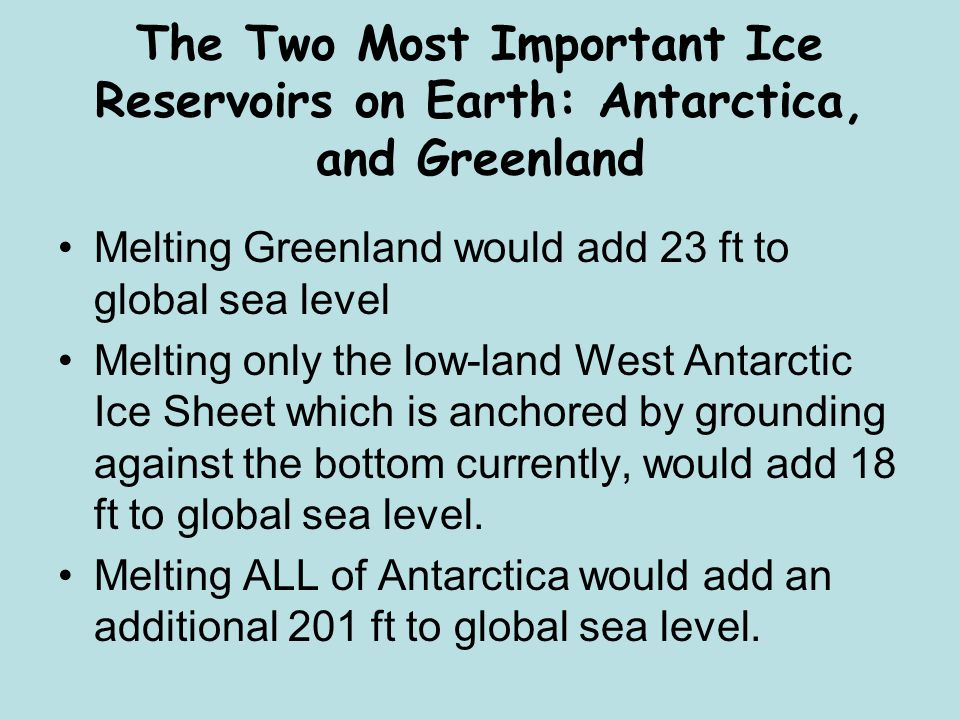 The Two Most Important Ice Reservoirs on Earth: Antarctica, and Greenland