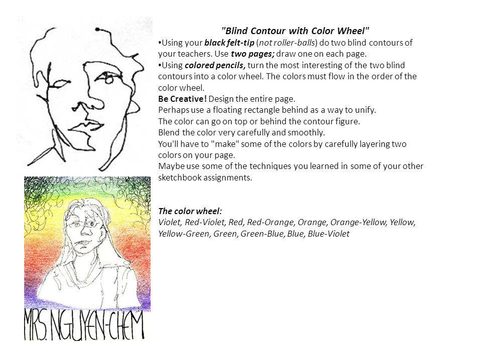 Blind Contour with Color Wheel