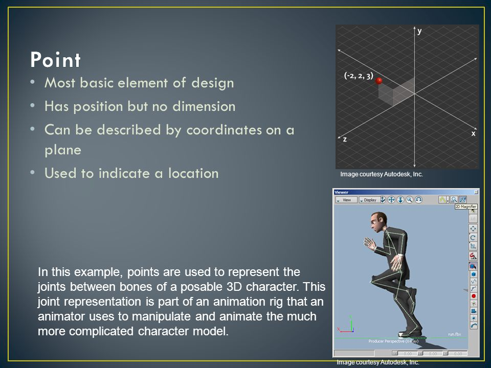 Point Most basic element of design Has position but no dimension