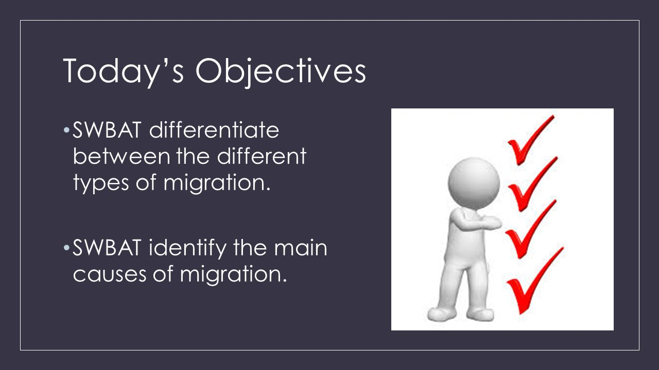 Today's Objectives SWBAT differentiate between the different types of migration.