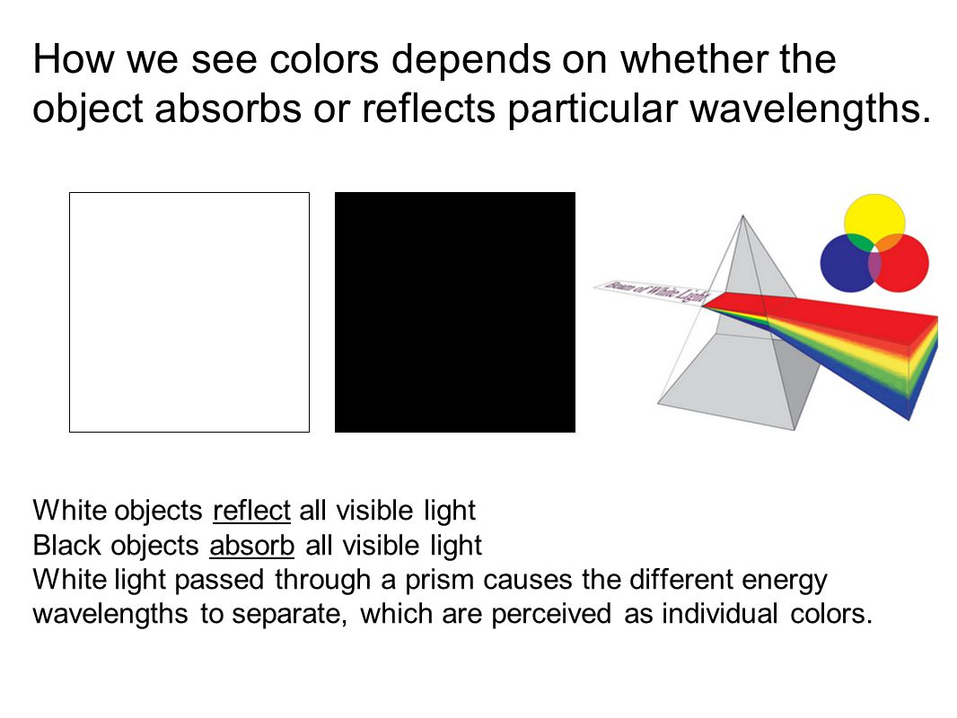 How we see colors depends on whether the object absorbs or reflects particular wavelengths.