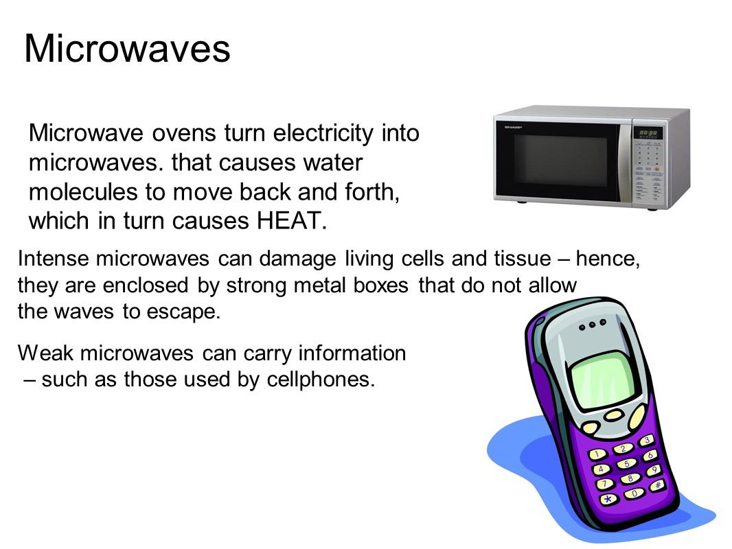 Microwaves Microwave ovens turn electricity into microwaves. that causes water molecules to move back and forth, which in turn causes HEAT.
