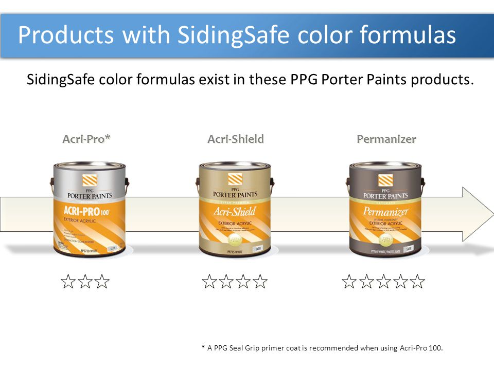 Products with SidingSafe color formulas