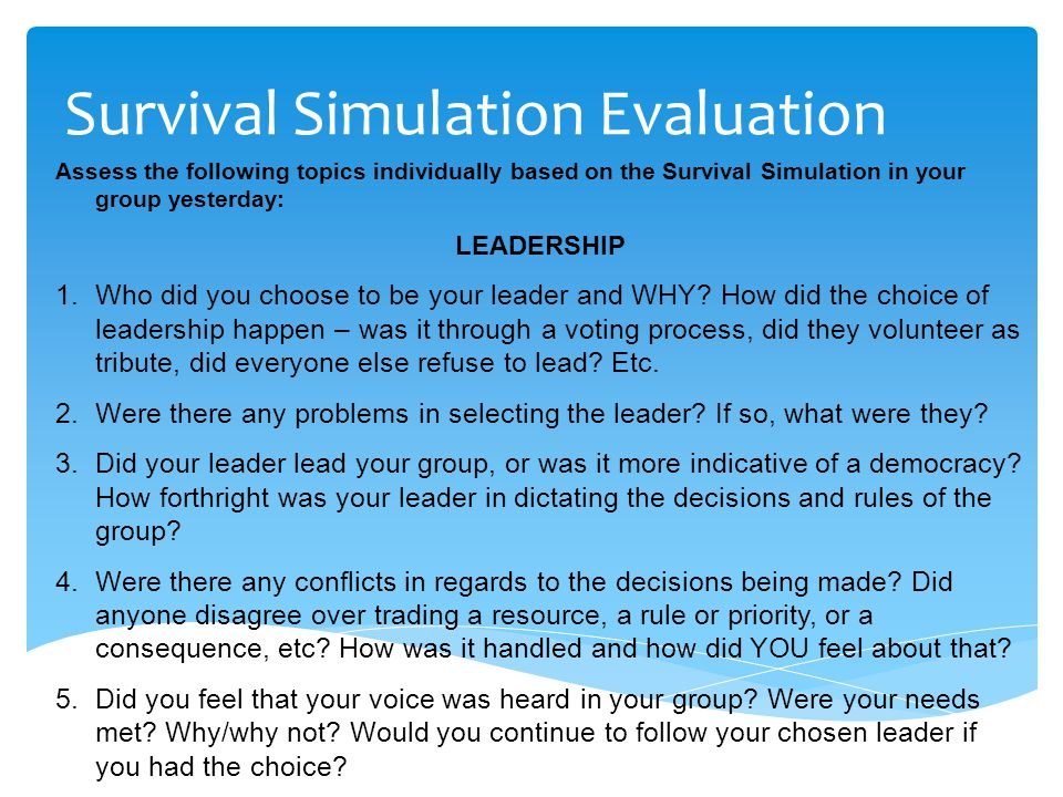 Survival Simulation Evaluation