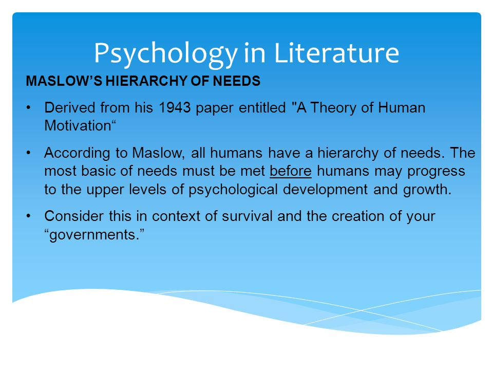 Psychology in Literature