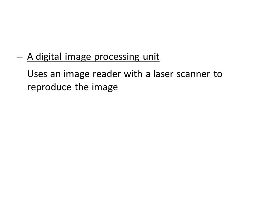 Uses an image reader with a laser scanner to reproduce the image