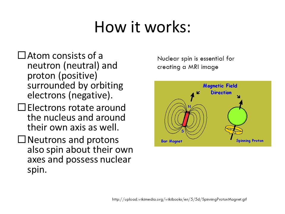 How it works: Atom consists of a neutron (neutral) and proton (positive) surrounded by orbiting electrons (negative).
