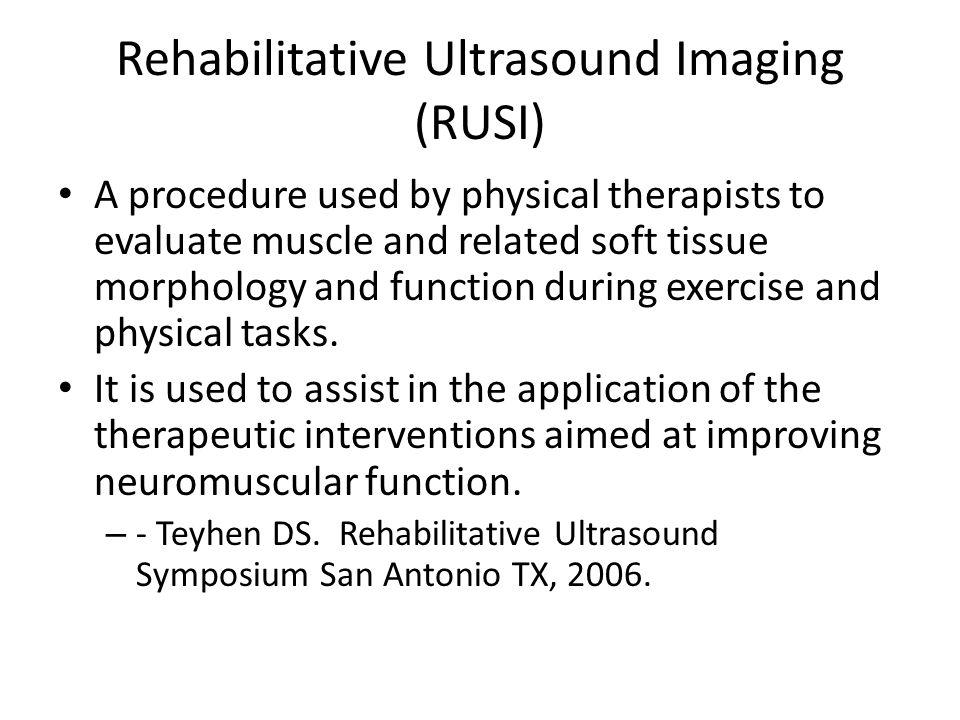 Rehabilitative Ultrasound Imaging (RUSI)