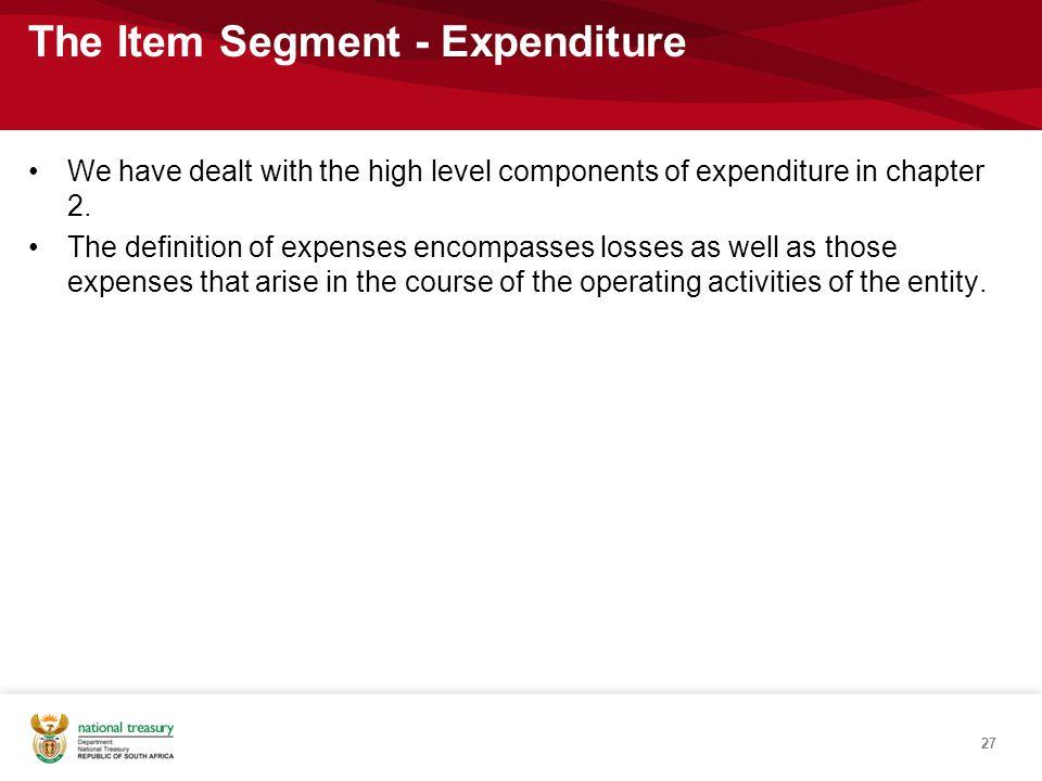 The Item Segment - Expenditure