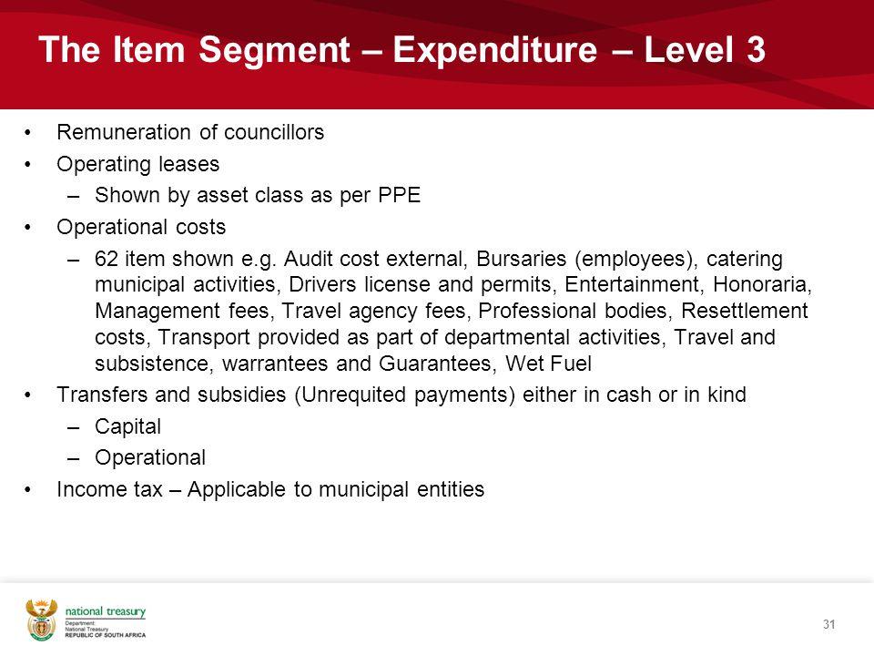 The Item Segment – Expenditure – Level 3