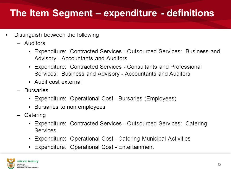 The Item Segment – expenditure - definitions