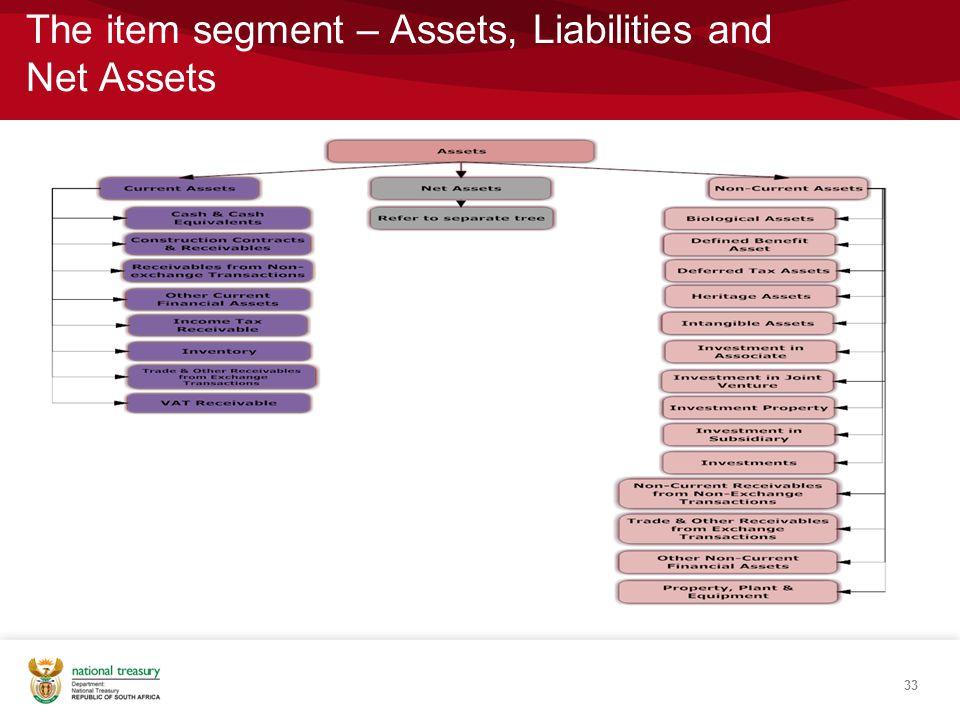 The item segment – Assets, Liabilities and Net Assets