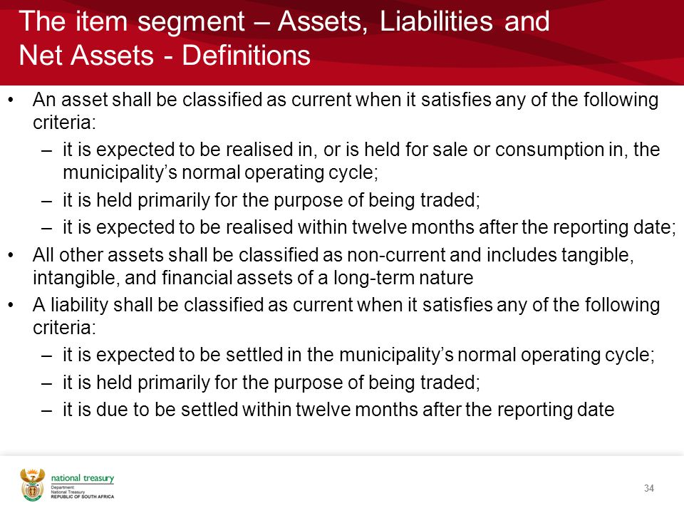 The item segment – Assets, Liabilities and Net Assets - Definitions