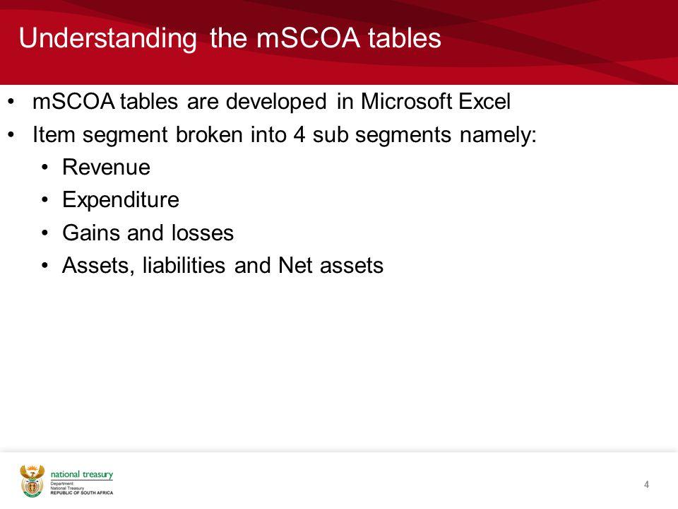 Understanding the mSCOA tables