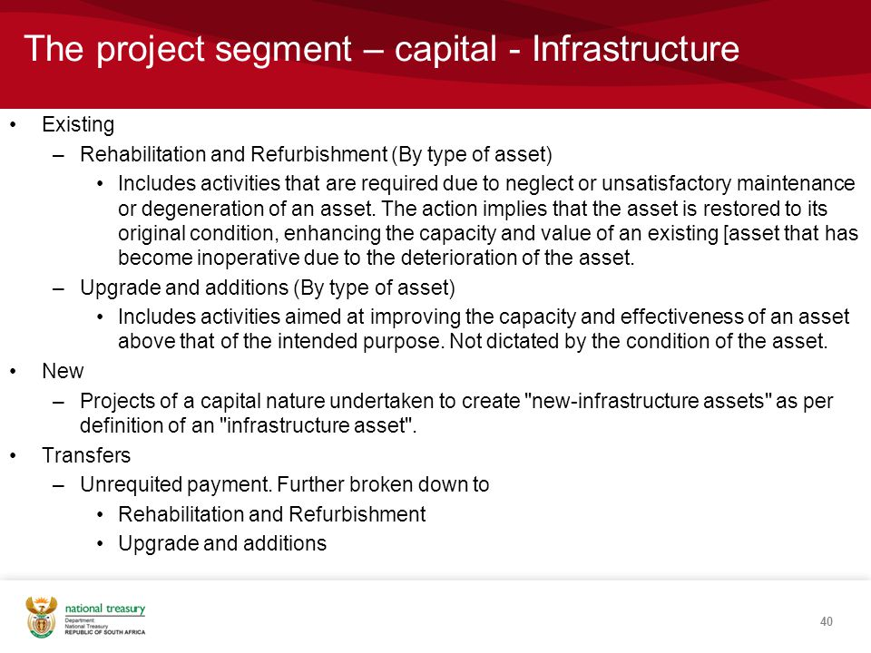 The project segment – capital - Infrastructure