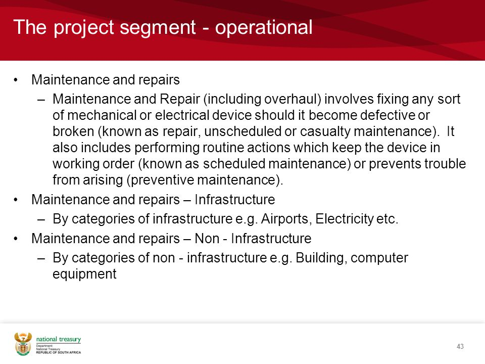 The project segment - operational