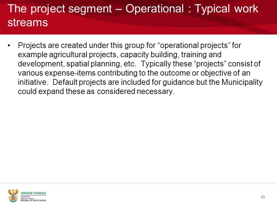The project segment – Operational : Typical work streams