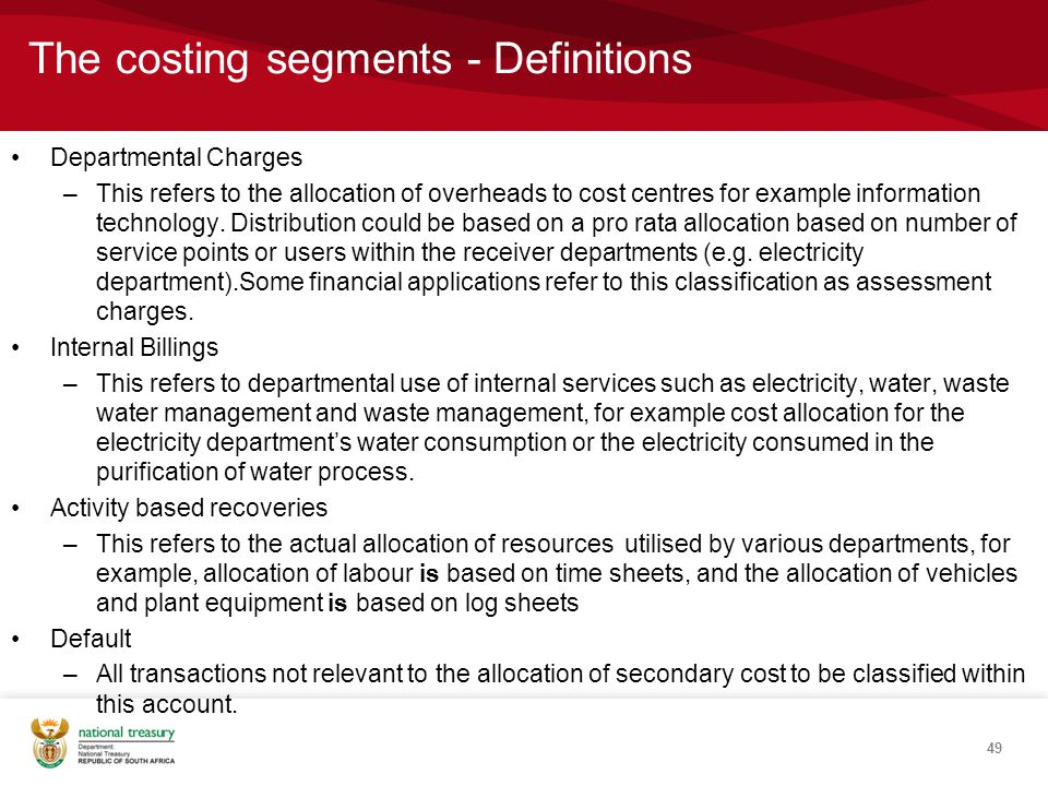 The costing segments - Definitions