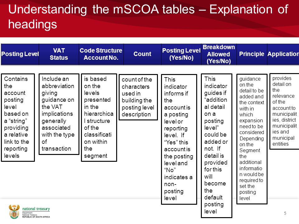 Understanding the mSCOA tables – Explanation of headings